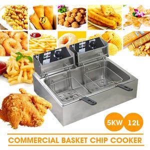 Cylindre à double huile commerciale friteuse électrique friteuse frire frire machine four à chaude chaude poulet frit gril