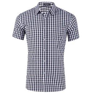 الرجال عارضة القمصان الصيف تنفس الأزياء رقيقة قصيرة الأكمام اللباس قميص بلوزة الذكور يتأهل منقوشة 100٪٪ جودة عالية