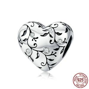 Gerçek 925 Gümüş Boncuk Aşk Kalp Charms Fit Orjinal Pandora bilezik kolye DIY Moda Takı