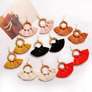 Big Sector Tassel Dangle Earrings For Women Boho Gypsy Round Wood Summer Earrings Gypsy Charm Jewelry Accessories