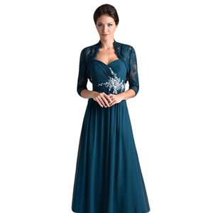 Long Chiffon Two Piece Set Mother of The Bride Dresses with Lace Jacket Pleated Long Evening Gown