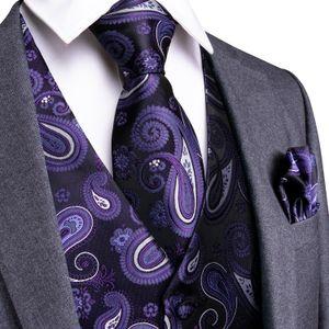 Hi-Tie Wedding Party fazzoletto Set Uomo cravatta viola classico Paisley floreale jacquard Gilet Vest Pocket Piazza Tie vestito MJ-0105