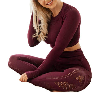 Womens Yoga Outfits 2ST Hohle Jelly Farbe Aufzug Hips Sport Leggings Fitness Crop Top Nahtlose Grms Tracksuits Sets Bekleidung 60FL E19