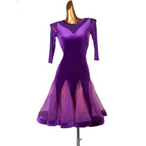 2020 Latin Dance Dress Purple Dress Velvet Dance Clothing Practice Group Exam Professional Clothes 1457