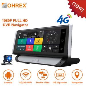 OHREX T809 8 polegadas 4G Car GPS Navigation Android Bluetooth ADAS 1GB Full HD 1080p carro DVR Dual Lens Google Navigator