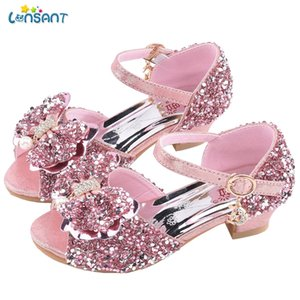 Zapatos LONSANT muchachas de los niños sandalias de verano de los cabritos de los bebés cristal de la manera del Bowknot de Bling princesa sandalias para la niña
