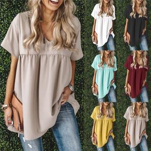 Designer Damen-T-Shirts Sommer-Kurzschluss-Hülsen-V-Ausschnitt Damen Tops Mode Weiblicher Panelled Peplum Tees Pure Color