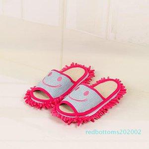 All'ingrosso-Cotton Sorriso modello pantofole multifunzionale pigra mop pulito pantofole a casa scarpe R02