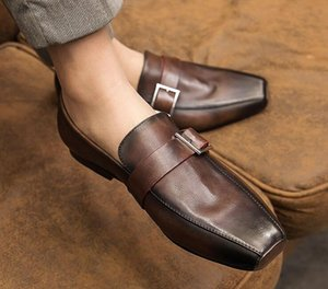 Men Genuine Leather loafer Dress Shoes low top Breathable Slip-On Flats Square toe Leather shoes High Quality fashion party shoes British st