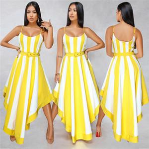 Senhoras Feriados Verão Striped Bohemian Dress Mulheres Spaghetti Strap Paneled Vestidos Feminino Sexy Fashion Designer Roupas