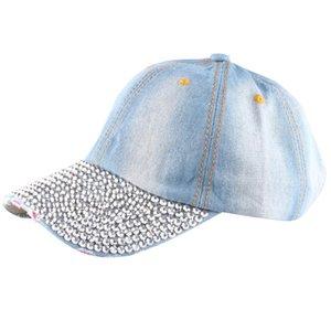 Brand Denim Hats Fashion Leisure Woman Cap With Water Drop Rhinestones Vintage Jean Cotton Baseball Caps For Men Hot Sale #38
