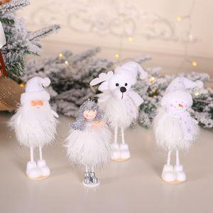 Natal do brinquedo de Natal Plush Doll madeira encantador de Santa Snowman estatueta Boneca Mini estatueta Presentes Janela decoração de casa HHA937