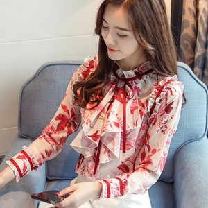 Fashion women blouses 2019 ladies tops print chiffon blouse shirt long sleeve women shirts women's tops and blouses 2542 50