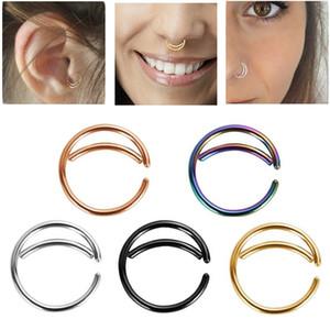 316L acero inoxidable luna anillo anillo cuerpo piercing joyería oreja cartílago tragus helix pendientes indio nariz anillo tono septo anillo