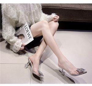 2020 summer Korean version of the new fashion wild transparent high heeled stiletto pointed sandals women