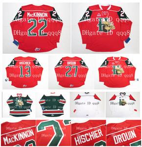 QMJHL Halifax Mooseheads Formaları 22 NATHAN MacKINNON 13 NICO HISCHIER 27 JONATHAN DROUIN Kırmızı Beyaz Green100% Dikiş Özel Hokey Formaları