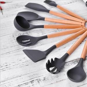 저장 상자와 도구 세트 요리 주방 도구 9PCS 검은 색 실리콘 조리기구 세트 붙지 않는 주걱 셔블 나무 손잡이