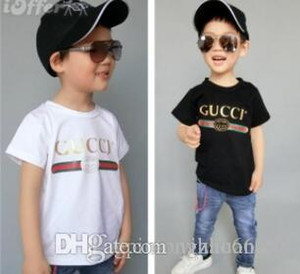 Детский новый хлопка с коротким рукавом футболки моды горячего тиснения рубашки футболки высокого качества случайные рубашка с короткими рукавами 90см --- 150см T-S