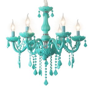 Modern levou lustre nórdico sala azul do candelabro de cristal Iluminação Sala Quarto Lamp Cafe cor cristal Lâmpadas