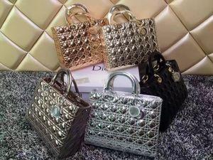 2019 f Luxus Qualität Marke Design Dame Plaid Messenger Bag Original Lackleder 7 Plaid Xl Tote Handtasche aus echtem Leder mit Anhänger Fräulein