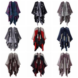 10styles Plaid star Poncho Scarf Tartan Winter Cape Grid Shawl Cardigan Cloak Tassel Wraps Girl Knit Scarves Coat Sweater Blankets FFA2874-1