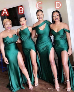 2020 Sexy Verde dama Africano Vestidos Ruched High Side Dividir Longo Prom Dress dama de honra Vestidos Custom Made