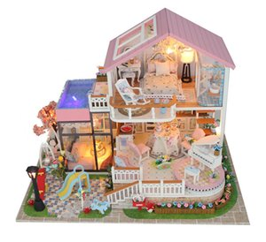 diy wooden big miniature child doll house toy garden miniatures dollhouse kitchen domek dla lalek drewniany gifts MX200414