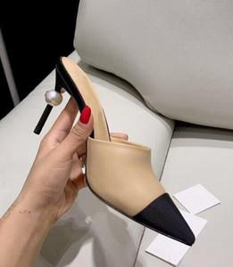 BONJEAN Nudo Nero Colori Misti Sandalo tacco Alto Donna Sexy punta a Punta Perle Tacchi Sottili Pattini Del Partito di Estate Muli Sandalo