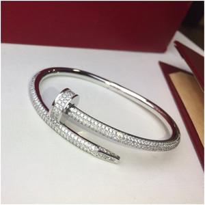 Design di lusso del diamante pieno bracciale in acciaio inossidabile delle donne di modo del Mens amore ghiacciato fuori Bracciali braccialetti del polsino dei monili del progettista Shippin