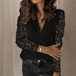 Lace Patchwork Designer Womens T-shirts Summer Long Sleeve V Neck Ladies Tops Mulher soltas Casual Tees