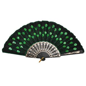 Beautiful Lady's Silk Hand Fan with Green Sequins