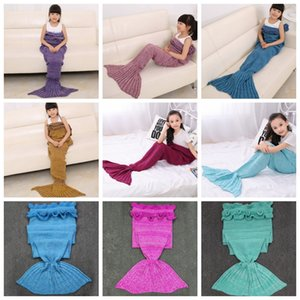 Mermaid Tail Blanket Crochet Fish Tails Blankets Kids Knitted Sleeping Bags TV Sofa Blanket Birthday Christmas Gift 13 Color 70*140cm DW4628
