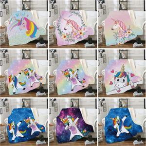 Double Deck unicornio impresión Mantas caja cuadrada de la alfombra del edredón manta para dormir colgados de la pared Decoración Alfombra Multi Estilo 45jma H1