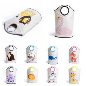 Foldable Baby Clothes Toy Bag Organizer Laundry Basket Bin Cartoon Cotton Canvas Waterproof Storage Box Outdoor Travel Home Goods Hamper