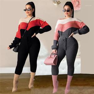 Womens 2PCS Contrast Color Sweater Suits Spring Designer Drawstring Long Sleeve Pencil Pants Sets Females Sexy Slim Suit
