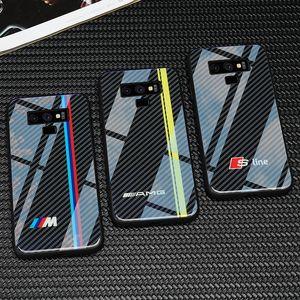 Vw golf bmw telefone de vidro temperado case para samsung galaxy s8 s9 s10 mais nota 8 9 casos para audi sline RS Ford Mustang AMG Civic