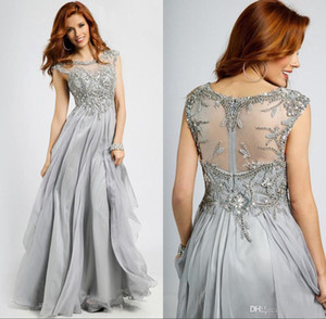 Silver Grey Mother Of The Bride Dress Scoop Neck Beading Chiffon Lace Plus Size Wedding Guest Dress