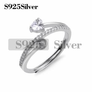 I risultati di DIY Donna Solid 925 Sterling Silver taglio cuore Cubic Zirconia Eternity Solitaire anello di fidanzamento 5 Pezzi