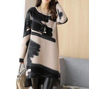 2019 NUOVE Donne Mid-Long Wool Dresses Autunno Inverno Irregolare Furry addensato stampato maniche lunghe vestito per donna signora