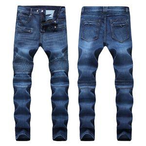 Afligido de homens Ripped Skinny Jeans Moda Jeans Mens Magro motocicleta Moto motociclista Causal Mens Denim Pants Hip Hop Jeans