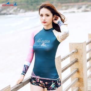 2020 Lady Summer Sun UV с длинным рукавом Swim T Shirt женщина пляжа UPF 50+ Серфинг Гидрокостюмы Защита Купальники Rash Guard Женщины