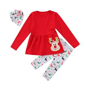 Pudcoco 2pcs / set Bébés filles Christma Ensembles à manches longues impression douce Cerfs Red Top Pant Vêtements décontractés pour Holiday Baby Girl cadeau