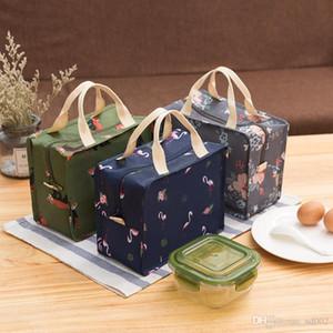 Flamingo Lunch Box Bag Oxford pano Isolamento Térmico Bolsa de alumínio Film Zipper Bento pacote de armazenamento de refeições Hand Held 8 2kib1