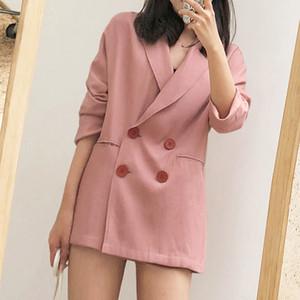blazer de linho para o verão 2020 estilo coreano Abotoamento casuais algodão rosa e roupa terno fino casaco feminino