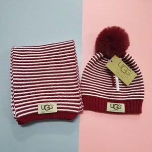 Mode Strickmütze Schal Sets Winter-Baby und Mädchen-warmer Hut Streifen Beanies Farbe Kinder Hip-Hop Caps U-G2545