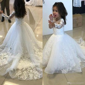 New Flower Girls Dresses For Weddings Communion Dresses Long Sleeves Applique Lace Tulle Sweep Train Puffy Children Girls Pageant Dress