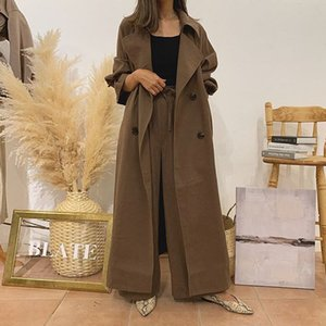Two Piece Sets Women Autumn Elegant Office Ladies Solid Long Trench Coat and Sashes Wide Legs Pants Suits Korean Style Brown T200702