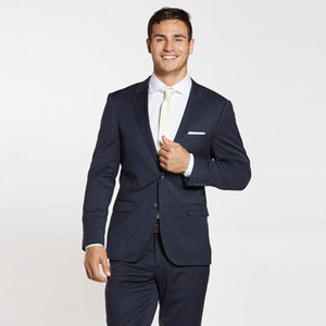 Formal Business Man Navy Blue Groom Wedding Tuxedo Men Suits Peaked Lapel Best Man Jacket Groomsmen Outfits 2Piece Slim Fit Terno Masculino