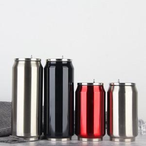 New 350ML et 500ML Cola Bouteille d'eau en acier inoxydable Coupe d'extérieur à vide Tasse isolé Sith Couvercles paille HH7-455