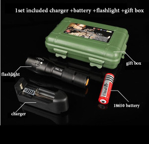 XML T6 flashlight 5000Lm High Power LED Zoom Tactical LED Flashlights torch lantern outdoor hike Travel light 18650 Rechargeable battery